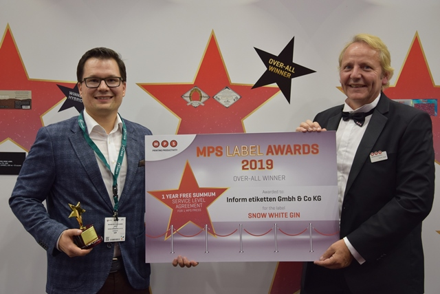 3. Dr. Benjamin Rüdt von Collenberg from InForm Etiketten with Martin Vogel, MPS representative in southern Germany, at the MPS Label Awards ceremony