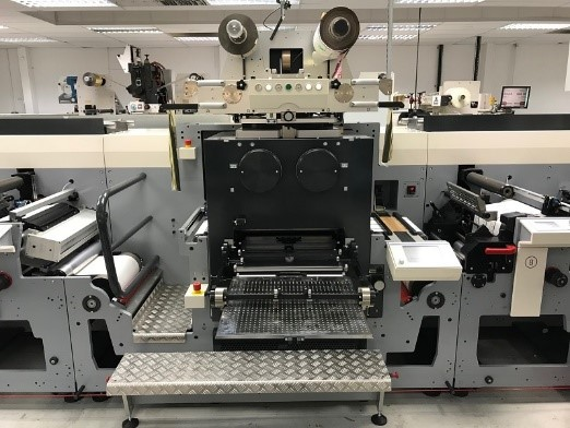 The MPS EF 430 flexo press integrated with an ABG Big Foot 50-ton hot foil and embossing module