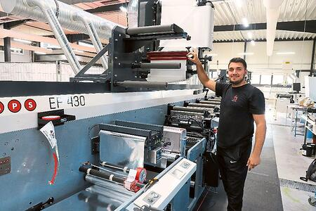 MPS EF430 press at fs-Etiketten used for 'Talk to Me' trial